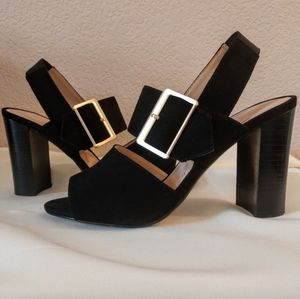 Adrienne Vittadini black suede buckle chunky heels